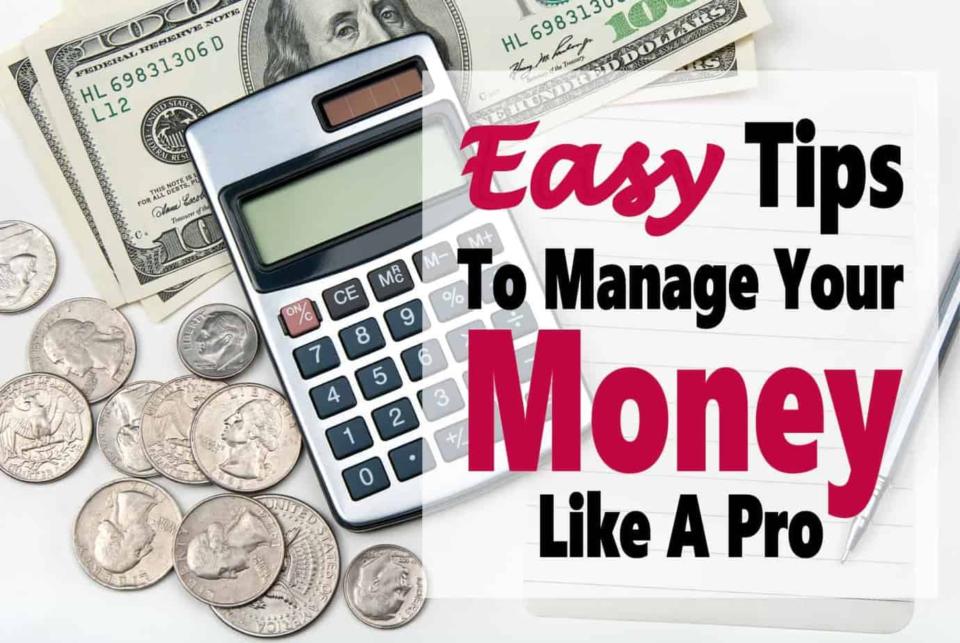 5 Easy Tips To Manage Your Money Like A Pro ~ We all have to learn to manage our money if we want to save money, stay on budget & get out of debt. Luckily it really isn't as difficult as it seems. Let me share with you 5 tips that will help you manage your money like a pro!! money | budget | debt | finance | save money | debt free #money #finance #debt #debtfree #budget