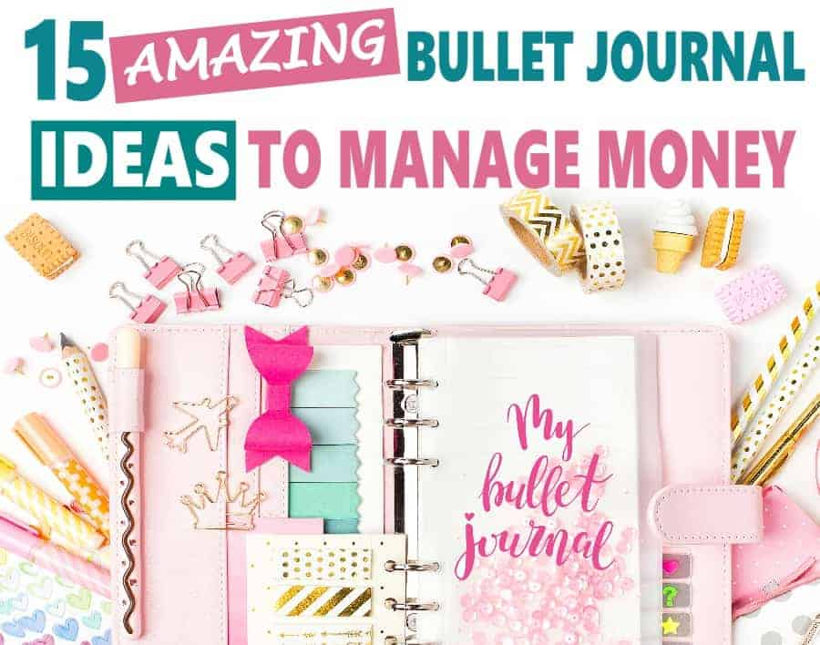 15 Bullet Journal Page Ideas to manage money! Stuck for what to put in your bujo? These bullet journal page ideas will help you find spreads, trackers, layouts and more that'll help you budget, track your spending, savings and debt repayment! #bulletjournal #boju