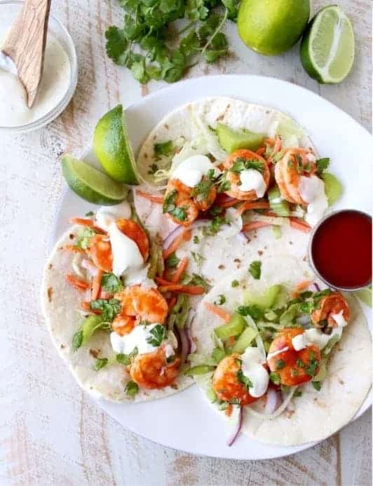 Quick Dinner Recipes ~ Seafood dishes are a bit of a stretch on our family grocery budget which is why I usually make this buffalo taco shrimp dishfor a nice date night dinner or for a special occasion meal