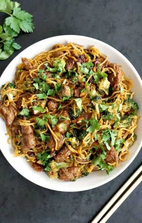Quick Dinner Recipes ~ A mix of savory beef along with healthy vegetables, this beef and broccoli noodle stir-fryrecipeis a great 15-minute meal option when you are looking for a quick meal idea
