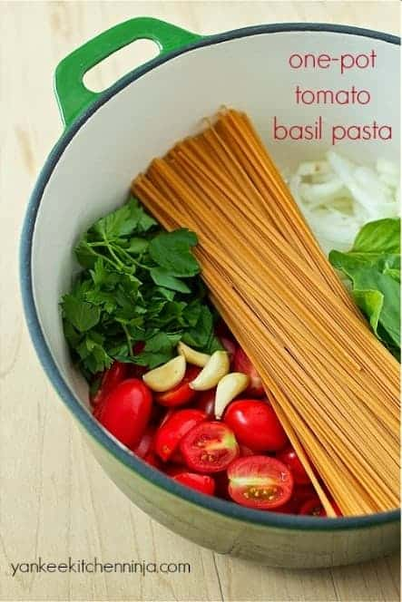 Quick Dinner Recipes ~ This one pot tomato basil pasta recipe is one of our family favorite recipes, even the kids love it!! Just look at all the fresh ingredients, who wouldn't want to feed their family this meal? Fast and fresh, plus clean up is a breeze.