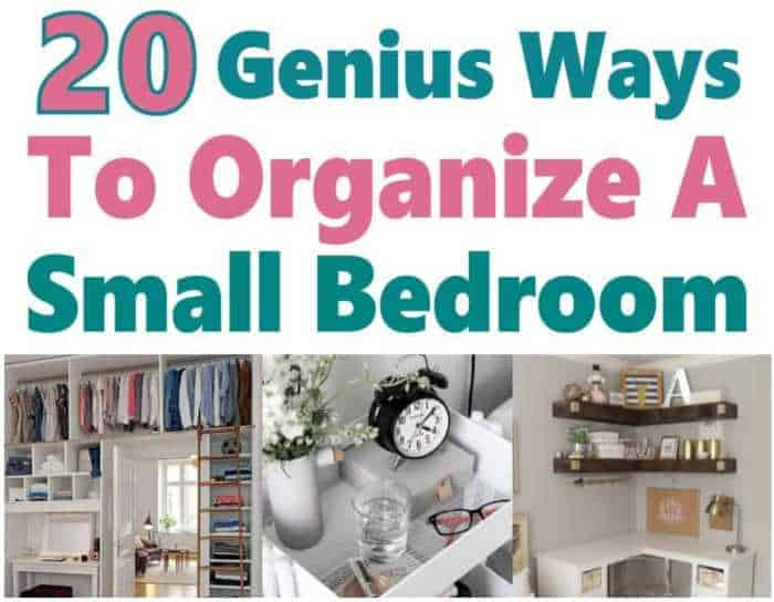 20 Genius Ways to Organize a Small Bedroom. If you have a small bedroom, then I'm sure you know that it can be hard to stay organized. I know I do but I'm so grateful I found these great home organization hacks that help me declutter my home. #organization #organize #homeorganization #cleaninghacks