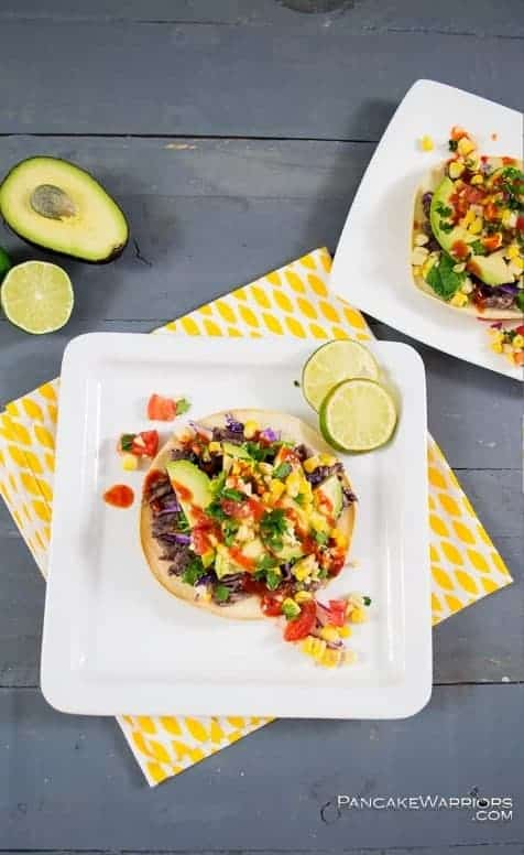 Quick Dinner Recipes ~ Quick and easy Bean Tostadas are a family favorite in my house. They are super quick to make and all the healthy ingredients make this a go-to meal for any mom.