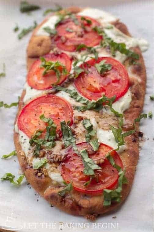 Quick Dinner Recipes ~ Skip the takeout pizza and make your own Margherita flatbread pizza. I don't have to spend much time making this meal because everybody loves to jump in and make theirown. What could be better than that?