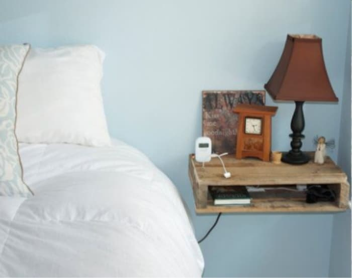 Floating nightstand to save space