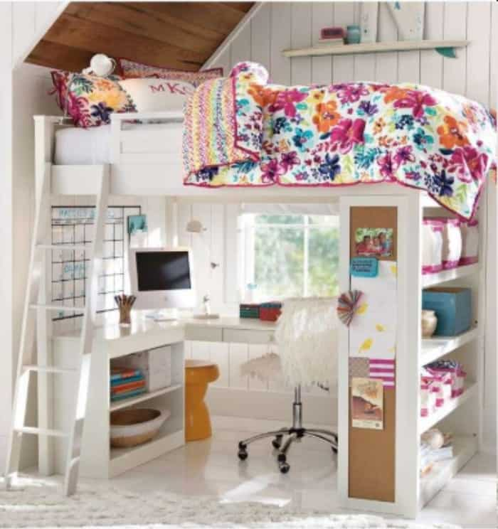 Loft Bed With Desk and Extra Storage