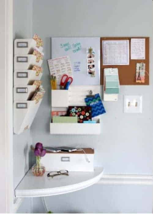 Corner Command Center An unused corner of your home is a great place to put a command center. Instead of wasted space, you can turn into command central with this fun idea. Besides all the essential supplies, all you need a cute corner shelf or even a small corner desk and you are good to go.