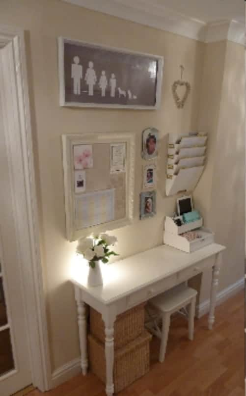 Classic Touch Command Center This classic touch command center idea is very classy while still being functional. The vintage desk and framed cork board are the perfect touches.
