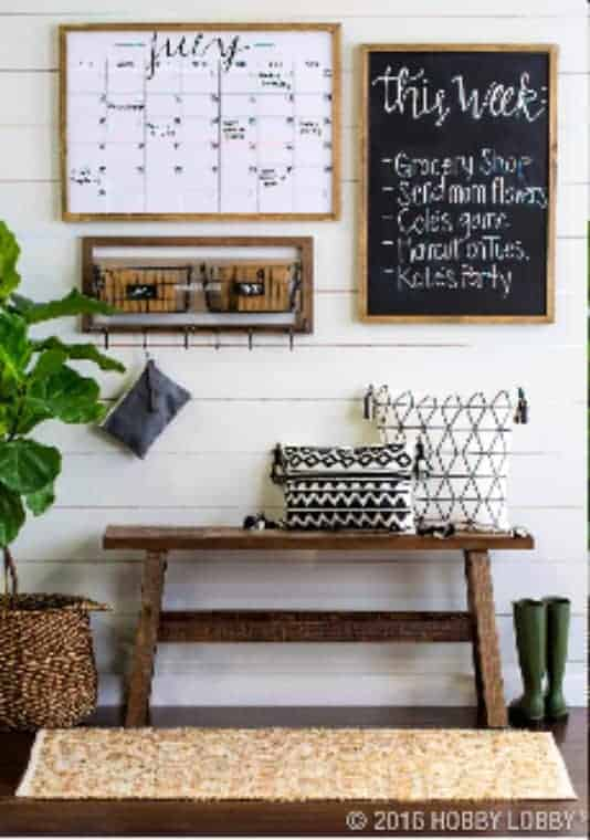 Stylish Home Entry Command Center This entryway command center is a nice touch to any home entrance. It perfect reminder of what's on your plate for the day as you rush out the door.