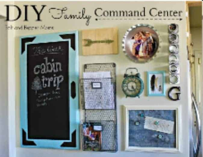 DIY Family Command Center This is another classic family command center idea that would fit in just about any corner of your home. Add family photos and fun decor items and you are good to go.