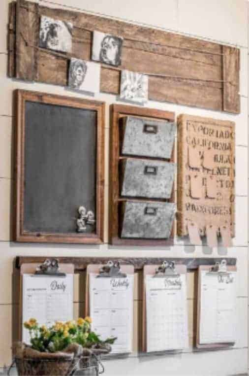 Rustic Sheek Command Center This rustic command center idea is another fun way to display your vintage style while getting and staying organized. What's great about this is you can build it with reclaimed material to give it the antique feel while saving money.