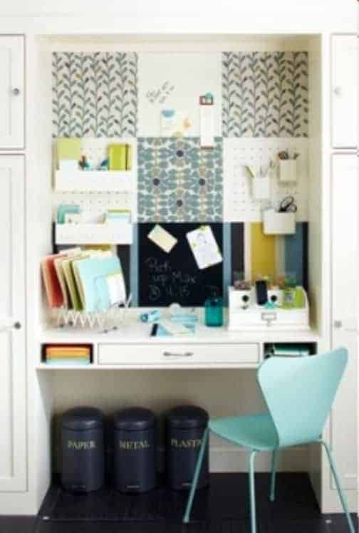 Nook Command Center Idea If you are crunched for space, a small nook in your home is the perfect place for your command center. You can place a floating desktop that fits your space so this can do double duty as an office nook at the same time.