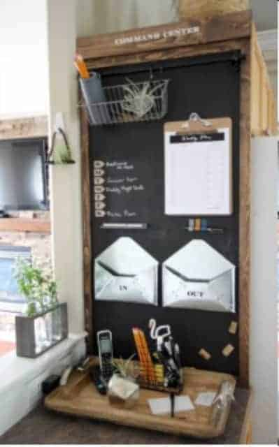 Small Kitchen Command Center Who says you need to dedicate an entire wall or nook in your home to create a functional command center. This idea is genius if you only have a small space to work with.