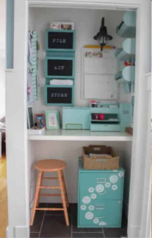 Closet Transformation Command Center Who knew you could transform a small closet into a beautiful command center. This is a perfect idea for anyone who doesn't have much room or would just rather keep their family command center tucked away.