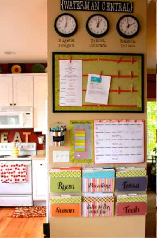 Fun Family Command Center I love this fun waterman central command center idea. It's afun and quirky way to keep your entire family organized while giving a wall in your home a touch of colorful fun.