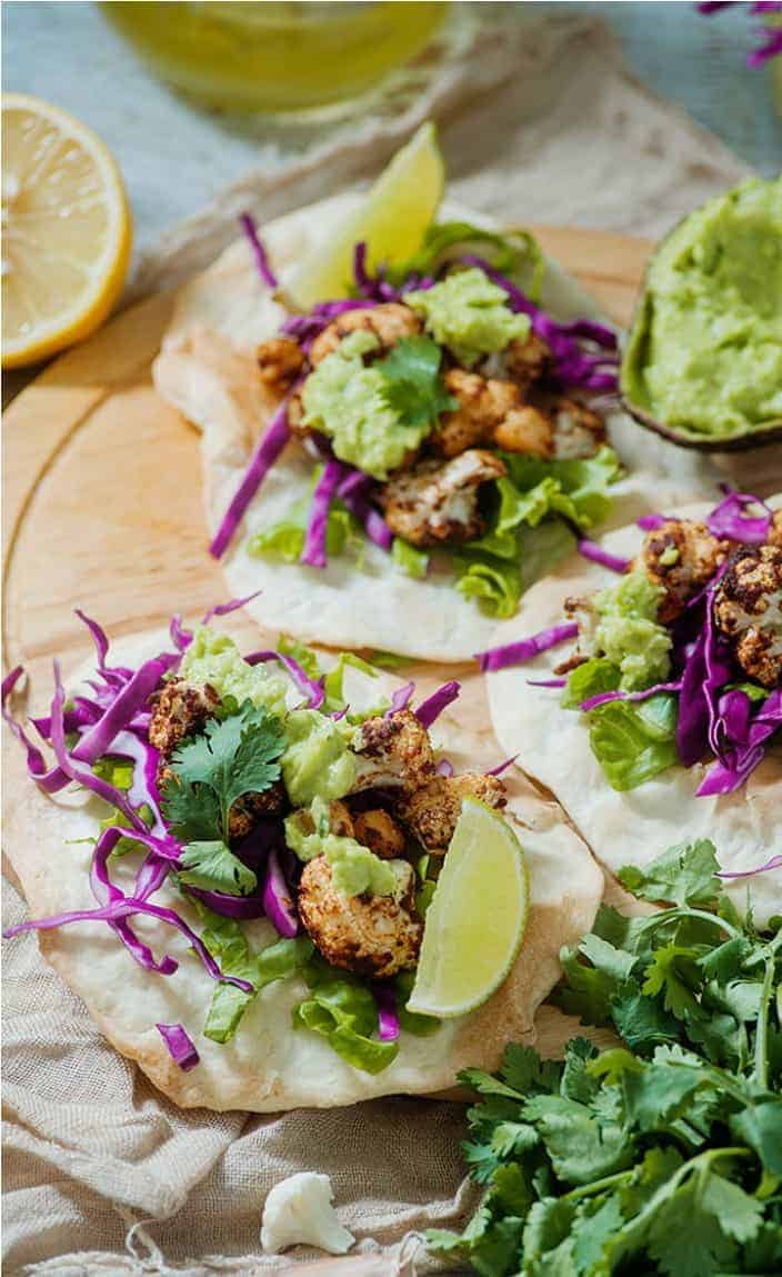 Healthy Meal Prep Idea: Tandoori Cauliflower Chickpea Tacos