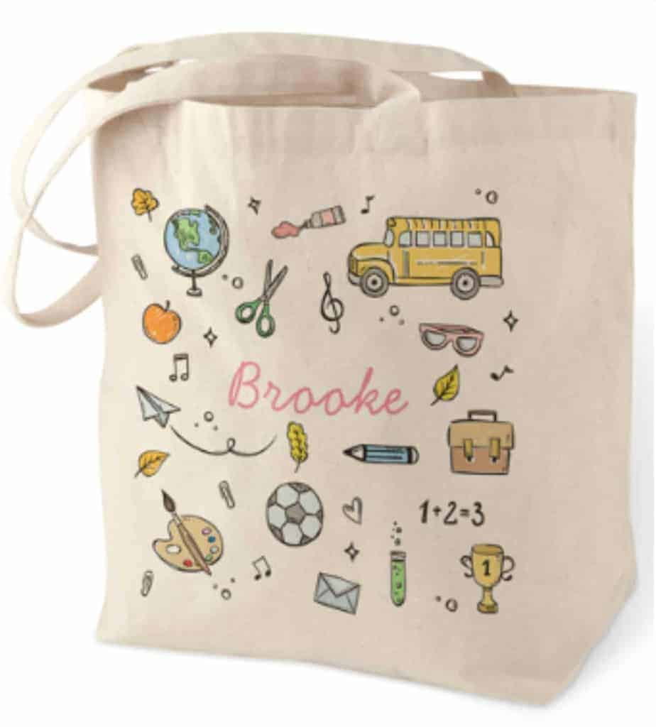 Personalized cotton tote teacher gift idea