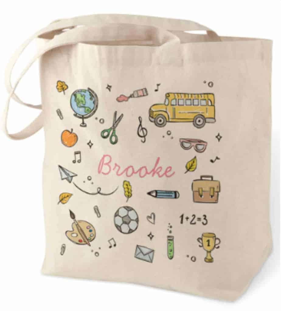 Personalized cotton tote teacher gift idea