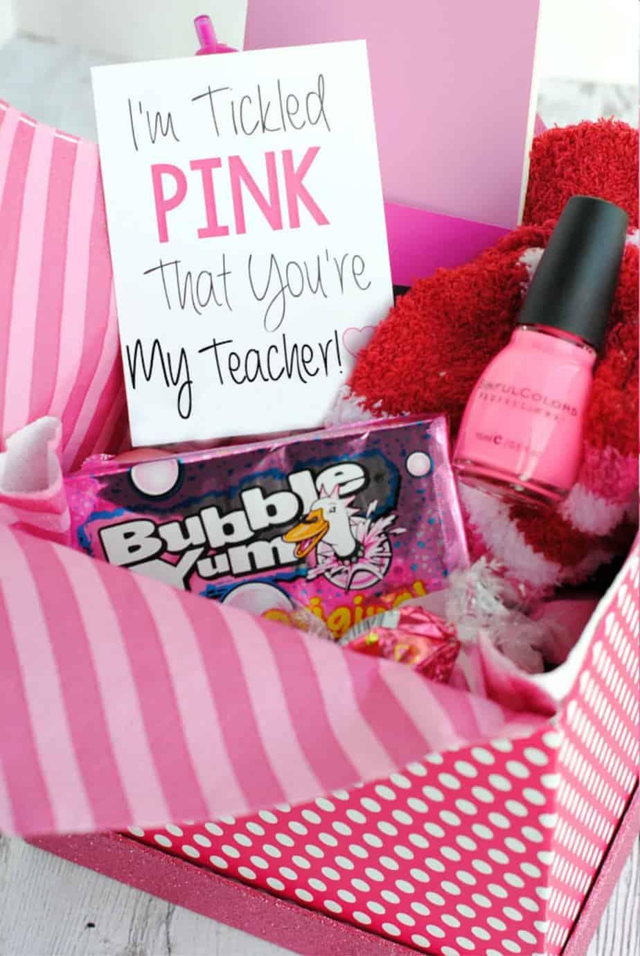 tickled pink teacher gift basket