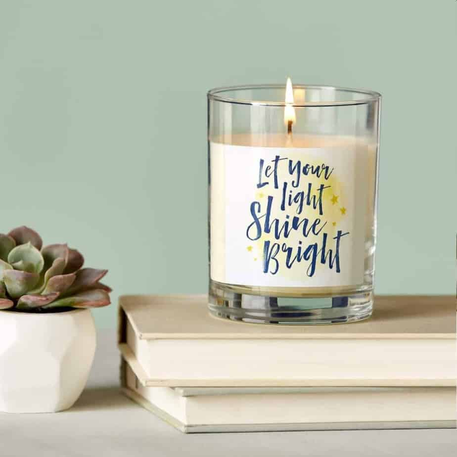 Let your light shine bright candle teacher gift