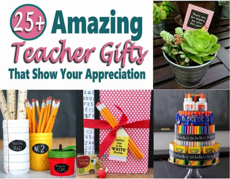 Show your child's teacher appreciation for all they do. Check out these 25 teacher gifts that are ideal for teacher appreciation day, Christmas, back to school or end of year or any time! There are DIY gift ideas, cheap gifts that won't blow your budget, personalized and unique teacher gifts for you to choose from. #teachergifts #giftideas #DIYgifts