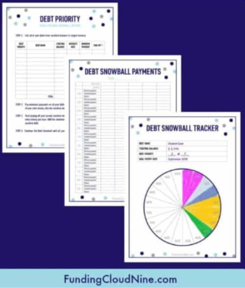 Debt Snowball Tracking Sheets