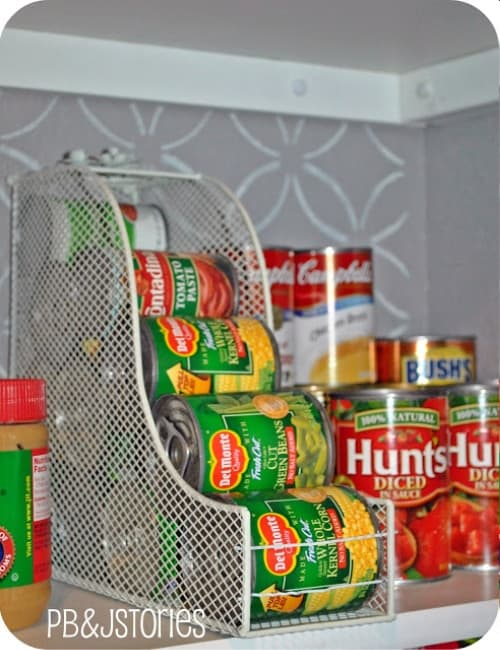 Organize cans in a pantry
