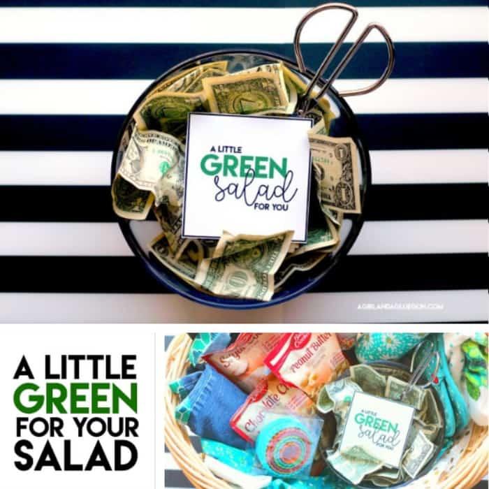 Green Salad Money Gift Idea