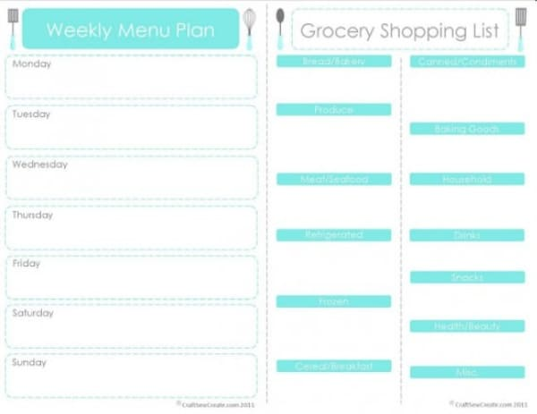 Weekly Menu Plan with Shopping List