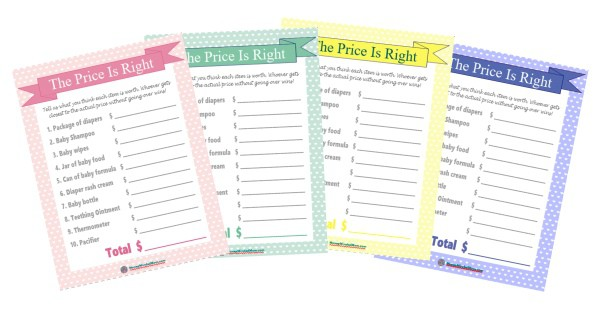 Price Is Right Baby Shower Game Printable