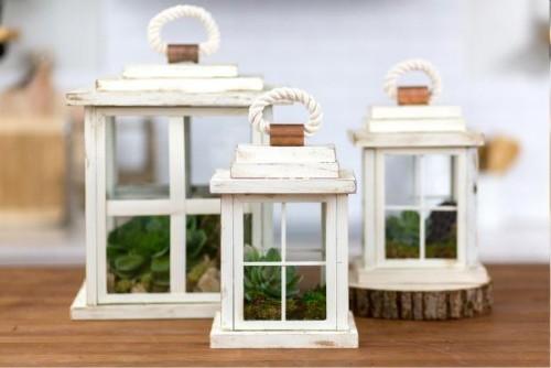 Easy DIY farmhouse decor picture frame lantern