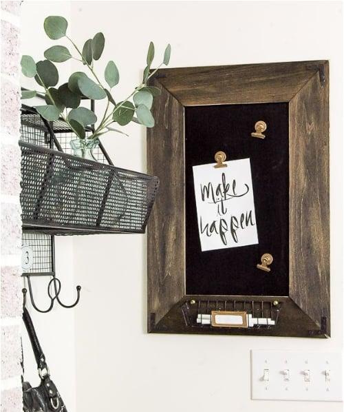 DIY farmhouse magnetic chalkboard message board decor