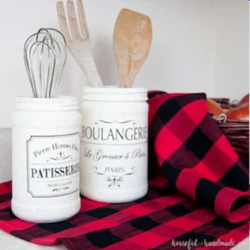 Farmhouse kitchen canister set dollar store DIY with wooden spoons