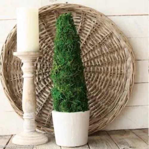 DIY farmhouse moss topiary tree decor