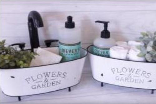DIY dollar store farmhouse bathroom caddy