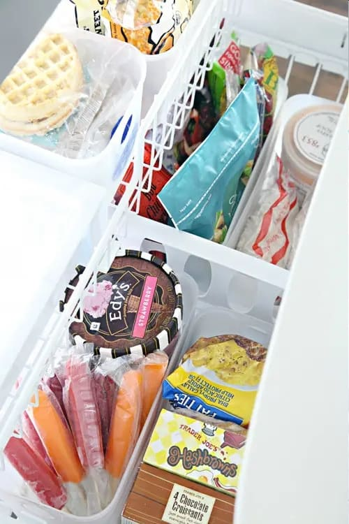 Organize your chest freezer by grouping similar items together