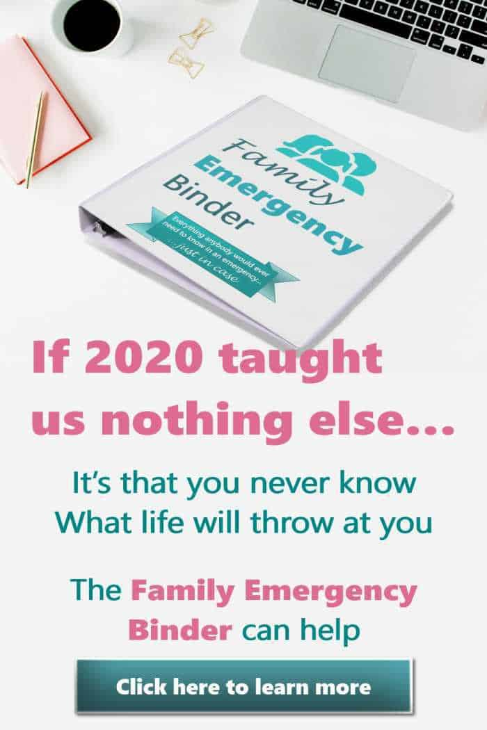 In case of emergency family binder