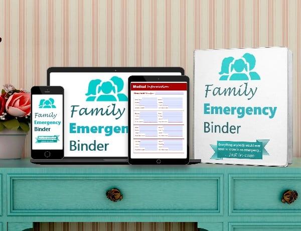 Family Emergency Binder mockups