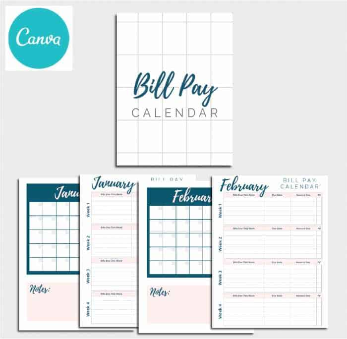 Yearly Bill Pay Calendar Printable